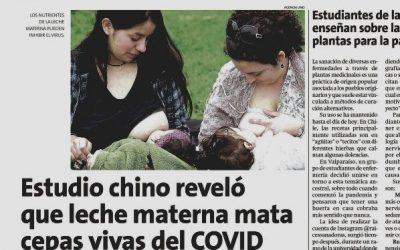 Prof. Francisca Rojo en la Estrella de Valparaíso comentando estudio Chino que reveló que la leche materna mata cepas vivas del COVID